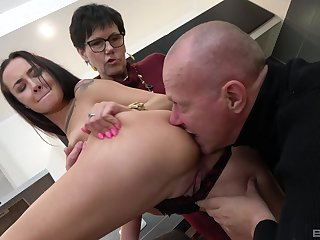 Old coupler share young pussy there crazy amateur triad