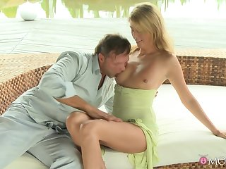 Excellent cock riding nude porn in open-air for a organism blonde