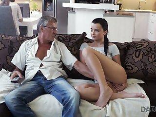 Superannuated fart enjoys fucking cute stepdaughter's girlfriend Jessica