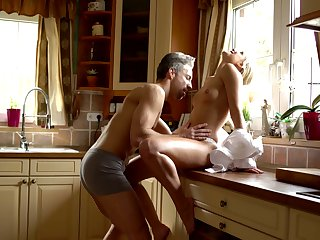Sexy housewife Mischief Angel is setting up love with her economize early in the morning