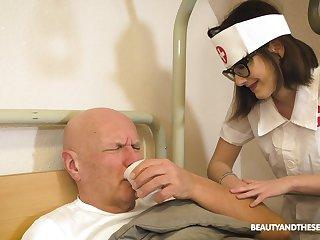 Pretty nurse gives a lucky old beggar an amazing blowjob