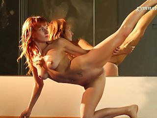 Flexible Russian model Ala Starovata loves about rag with her body