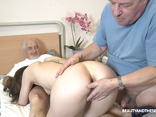 Sweet nurse pleases these elderly guys with one last fuck