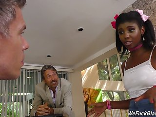Petite ebony teen happenstance circumstances a threeway with two men