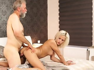 Daddy call me and chubby old granny Ria fell down from